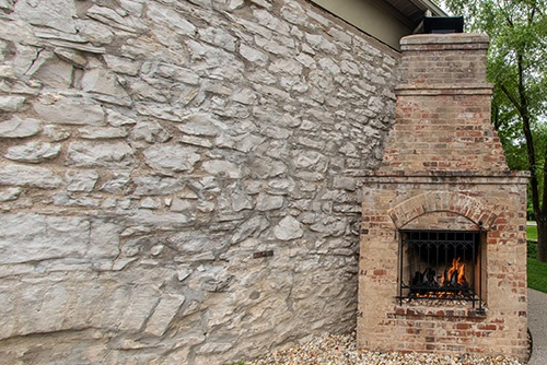 Andre's Old Stone Chapel Wedding Venue fire place